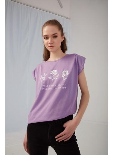 Modaset Vatkalı T-Shirt Lila Mor